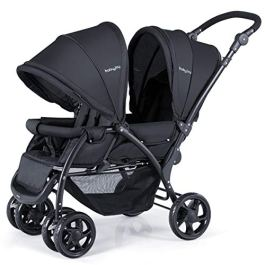 BABY JOY Foldable Double Seat Baby Stroller, Heavy Duty Construction Frame for Safety, Adjustable Backrest, Push Handle and Footrest, Safety Wheels, 5 Points Safety Belts