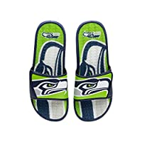 Officially Licensed Team-colored design with bold team logo display on footbed Two piece reinforced padded adjustable strap Slip-on style with open-toe design Two-toned strap with team logo display
