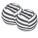 Miaowater 2 PCS Stuffed Animal Storage Bean Bag Chair Cover, Cotton Canvas Beanbag with Zipper for Organizing Kid's and Adults Room Grey 24'