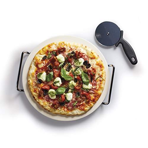Kitchen Craft Italian Collection Set pietra per pizza, sostegno e rotella per pizza, 32 cm