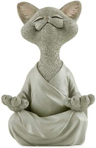 Whimsical Grey Buddha Cat Figurine Meditation Yoga...