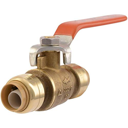 SharkBite 22222-0000LFA Ball Valve, Water Valve Shut Off, Push-to-Connect, PEX, Copper, CPVC, PE-RT, HDPE, 1/2 Inch x 1/2 Inch