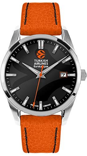 JACQUES LEMANS Herren Armbanduhr massiv Edelstahl 1 Uhr, orange/schwarz, 44