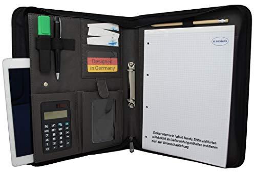 K.Designs A-4 Schrijfmap | Met inschuifvak voor tablet | Met A-4 schrijfblok en zakrekenmachine | Zacht kunstleer