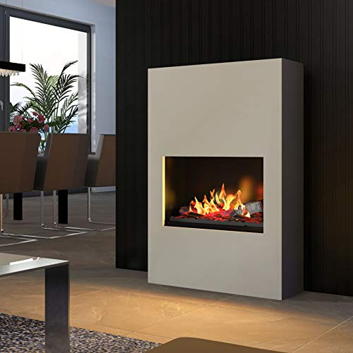 bergamo Torretta – Bio-Ethanol Stove Standing & Wall Fireplace – Grey Aluminium with Base – Safety Burner 565 – Aluminium Powder Coated