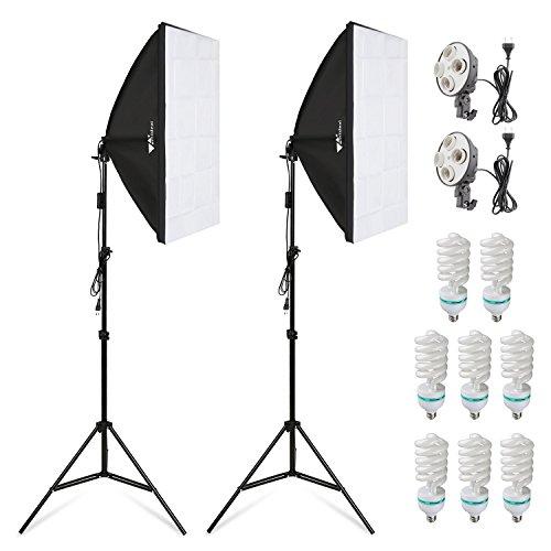 Amzdeal Softbox Kit Studio Fotografico, 2 x Softbox 50 x 70cm + 8 x Lampada 135W + 2 x Stativo Set...