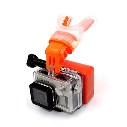Eyeon Surf Bocca Mount Pattinaggio Spara Dummy Bite Mount Bocchino Holder Adapter per GoPro Hero 2018/7/6/5/4/3, Session, Xiaomi YI, SJCAM, Apeman, Crosstour, Victure, Campark AKASO Camera (Arancio)