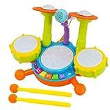 deAO Conjunto Musical de Percusión Instrumentos Electrónicos Infantiles Juego de Imitación Incluye Kit de Tambores, Micrófono, Efectos Sonoros Variados Juguete para Niños y Niñas