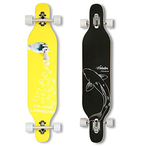 VOLADOR 42inch Freeride Longboard Complete Cruiser (Drop Through Deck - Camber concave)(Tribe Feather)