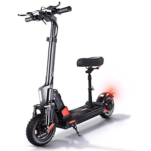 Trottinette Électrique Adultes 48V 13Ah Batterie - 50 Km/h, 45 Km La Longue Portée, Moteur de 500W, 10 Pouces Pneu Tout-Terrain Scooter électrique Pliable avec Siège