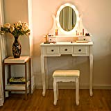 Giantex Vanity Table Set with 12 Lights Mirror, Bedroom Makeup Dressing Table with 360° Rotating Oval Mirror, 5 Drawers and Shelf, Modern Makeup Table with Cushioned Stool for Girls Women (White)
