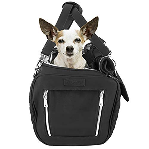ZuGoPet Airline Approved Pet Carrier - Dog Travel Carrier with Adjustable Strap, Designer Pet Purse for Dogs & Cats, White Backpack with Dog Bed, Pet Carrier for Safe Travel, Car Seat Dog Backpack