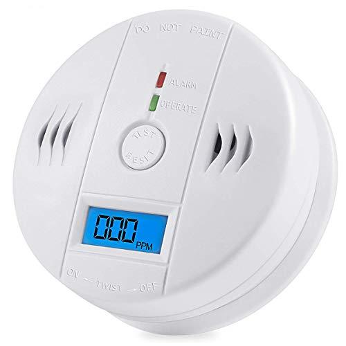 Detección de gas de monóxido de carbono, detector de CO Alarma LCD Monitor de CO de gas de seguridad portátil, alimentado por batería, reloj despertador de advertencia (batería de 9 V no incluida)