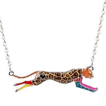 WEVENI Enamel Alloy Jaguar Leopard Necklace Animal Pendant Chain Jewelry Gifts for Women Girls Ladies Multicolor