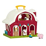Battat BT2626C1Z – Big Red Barn – Animal Farm Playset for Toddlers 18M+ (6Piece), Dark Red, 13.5' Large x 9' W x 12' H