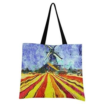 Village De Moulin À Vent Champ D'Art Sac Courses Reutilisable Pliable Grand Eco Sac à Provisions Shopping de Fruits Légumes