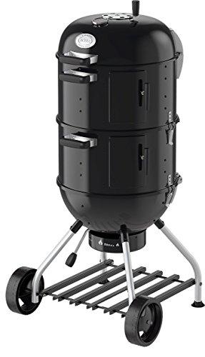 RÖSLE Smoker No. 1 F50-S, Stahl schwarz, 69 x 68 x 136 cm, als Kohlegrill verwendbar, Deckelscharnier, integrierter Wasserbehälter (7 l) für gleichbleibende Temperatur