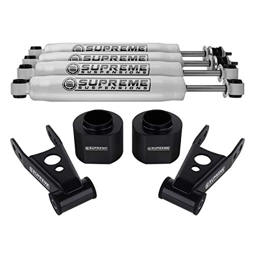 Supreme Suspensions - 3' Front + 2' Rear Lift for Jeep Cherokee XJ Lift Kit High Crystalline Delrin Spring Spacers + Carbon Steel Lift Shackles + Pro Performance Series Shocks