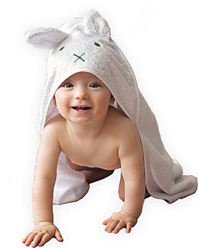 BabyCrate Kapuzenbadetuch Hase mit Ohren 100{9f1cf04710d61bcdb39c4a6794027d05421b1888cce1d8045795eb3e85da0cde} Bio-Baumwolle weich und dick - Premium-Qualität - ideal als Geschenk für Neugeborene, Säuglinge und Kleinkinder