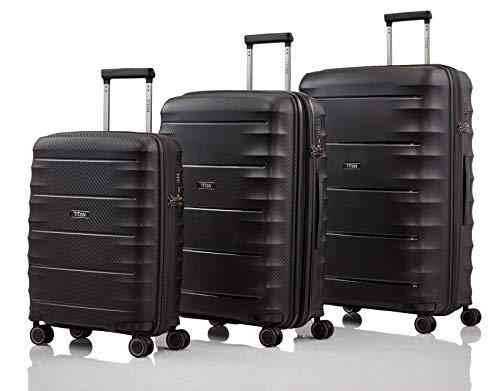 Gepäck Serie HIGHLIGHT: TITAN Hartschalen Trolleys im Carbon Look, 4-Rad Koffer Set Größen L/M/S mit TSA Schloss, Bordtrolley erfüllt IATA-Bordgepäckmaß, 842102-01, Black (Schwarz)