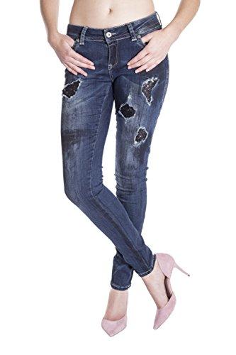 Blue Monkey Damen Skinny Jeans mit Pailletten Laura 16535 31/32