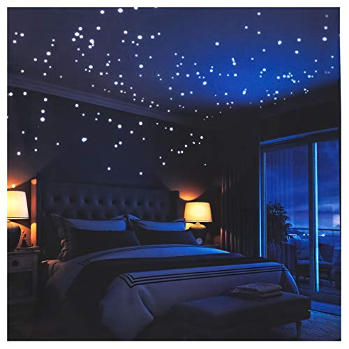 Glow in The Dark Stars Wall Stickers,252 Adhesive Dots and Moon...