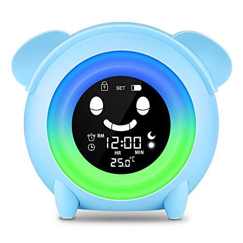 Wecker für Kinder - Lovebay Kinderwecker Wake Up Lichtwecker, Kinder schlafen Trainer mit 7 Farben Ändern Lehren Kids Zeit zum Aufwachen, Nachtlichtuhr mit wiederaufladbarer Batterie, Aufladen USB