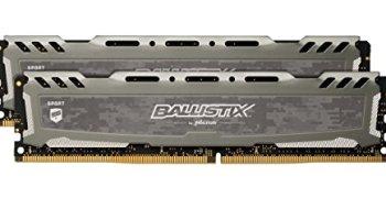 Crucial Ballistix Sport LT 3200 MHz DDR4 DRAM Desktop Gaming Memory Kit 16GB (8GBx2) CL16 BLS2K8G4D32AESBK (Gray)