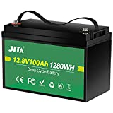 JITA 12V 100Ah Lithium LiFePO4 Deep Cycle Battery, Built-in 100A BMS, 2000-5000 Cycles, 10 Year Life, Support 1280W Power Output, for RV, Solar Power System, Marine, Home Storage and Outdoor Camping