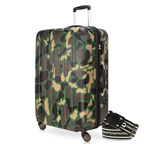HAUPTSTADTKOFFER - Spree - Hartschalenkoffer Rollkoffer + Gepäckgurt, erweiterbarer Reisekoffer, 4 Rollen, TSA, 75 cm, 119 Liter, Camouflage