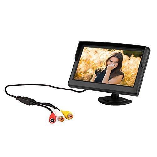 KKmoon Monitor per Auto, Monitor Auto Inverso con Display LCD TFT a Colori da 5 Pollici per Telecamera Retrovisore Dvd VCR
