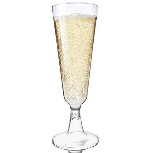 48 Flute da Champagne Plastica USA e Getta, Trasparente 150ml - Elegante, Resistente, Monouso o Riutilizzabile - Bicchieri Prosecco per Feste Matrimoni Party Compleanni Natale Capodanno.