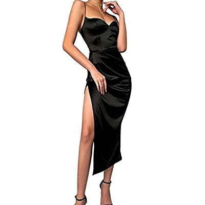 Material: Womens spaghetti strap side slit satin cami dress made from selected polyester + spandex, lightweight, soft, silky and comfortable and skin-friendly. Design: Women satin dress, sexy V neck, womens spaghetti strap dress, Y2K E-girl stylish, ...