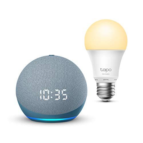 Echo Dot (4.ª generación) con reloj, Azul grisáceo + TP-Link Tapo...
