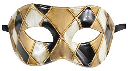 Luxury Mask Men's Vintage Design Masquerade Mask Prom Mardi Gras Venetain (One Size, Blue/Gold Half Checkered)