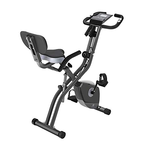 Folding Exercise Bike with 10-Level Adjustable Magnetic Resistance | Upright and Recumbent Foldable Stationary Bike is The Perfect Workout Bike for Home Use for Men, Women