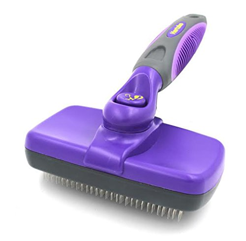 Hertzko Self Cleaning Slicker Brush – Gently Removes Loose Undercoat, Mats and Tangled Hair – Your Dog or Cat Will Love Being Brushed with The Grooming Brush