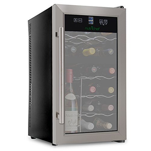 NutriChef PKDSWC18 18 Bottle Dual Zone Thermoelectric Wine Cooler - Red and White Wine Chiller - Countertop Wine Cellar - Freestanding Refrigerator - With LCD Digital Touch Controls - Stainless Steel