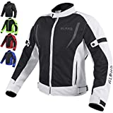 HI VIS MESH MOTORCYCLE JACKET FOR MENS RIDING BIKERS RACING DUAL SPORTS BIKE ARMORED PROTECTIVE… (GRAY, MEDIUM)