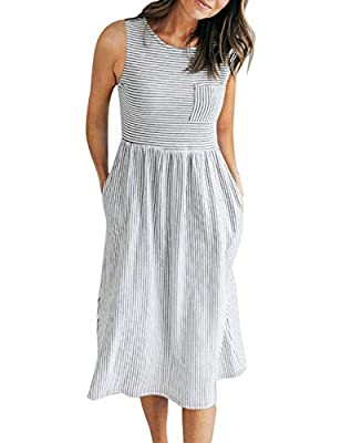 Size Guide:S=US 4-6,M=US 8-10,L=US 12-14,XL=16,Soft and stretchy fabric, we accept 30 days money back! Unique Design: Sleeveless, round neckline, classic stripes, elastic waist, two side pockets and patchwork front pocket, about knee length This dres...
