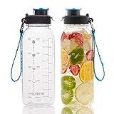 BOTTLED JOY 32oz Water Bottle, BPA Free Water Bottle with Motivational Time Marker Reminder Leak-Proof 1L Drinking Bottle Tritan Sports Bottle for Camping Workouts Gym and Outdoor Activity