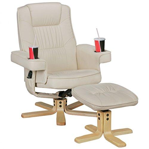 FineBuy Relax Duo Fernsehsessel mit Getränkehalter   TV Sessel drehbar mit Hocker   Relaxsessel Beige aus Kunstleder mit Armlehnen   Stuhl mit Fernbedienungshalter   Sessel mit Handyhalter