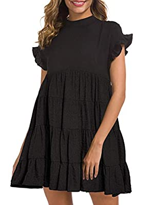 Material: Polyester, Comfy Mini Dress. We accept 30 days money back! Features: Ruffle short sleeves, Trendy tiered skirt, Round Neck, Full- Lined, Side Zipper👏 Cute babydoll style dress is so much Fun, Very Flowy, Flattering and well made Loose Fit s...
