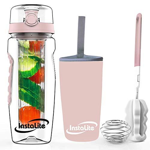 Instalite Fruit Infuser Detox Water Bottle 1 Litre, BPA Free Tritan Material with Full Length...