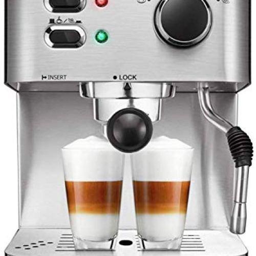AICOK Espresso Machine, Cappuccino Coffee Maker with Milk Steamer Frother