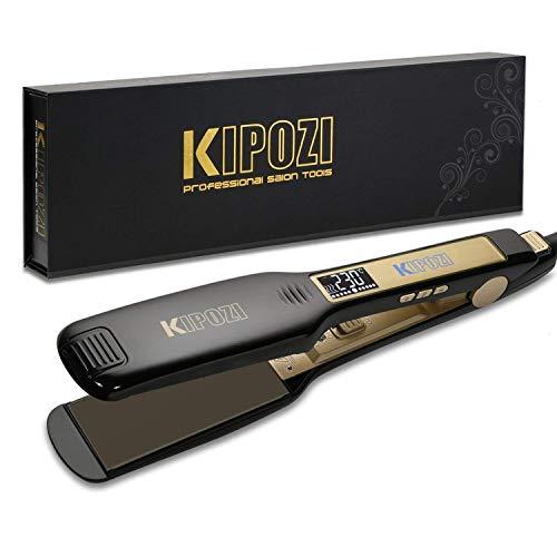 KIPOZI Profi Glätteisen Haarglätter Ionen Technologie mit 4.5cm extra breiten Platten und digitalem LCD-Display Dual Spannung schnelles Haarstyling ,100-240V Schwarz
