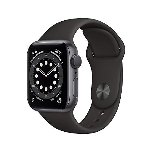 最新 Apple Watch Series 6(GPSモデル)- 40mmスペースグレイアルミニウムケースとブラックスポーツバンド