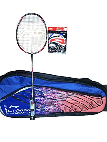 Li-Ning Turbo X 90-II (AYPM088-4) Carbon-Graphite Badminton Racquet (Black/Grey) with String & Bag