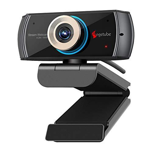 Angetube HD Gaming Webcam 1080P con Microfono, Webcam USB PC Streaming Webcam con videochiamate Widescreen e Supporto Skype OBS Xbox XSplit Facebook Youtube Compatibile con Mac OS e Windows