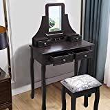 JAXSUNNY Brown Vanity Dressing Table with Stool Mirror Dressing and Makeup Table Set Jewelry Cabinet for Women Girls